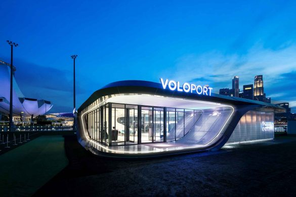Vertiport-Prototyp für eVTOL Flugtaxis in Singapur